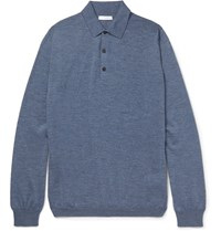 Boglioli Knitted Melange Virgin Wool Polo Shirt Blue