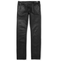 Balenciaga Slim Fit Coated Denim Jeans With Leather Waistband Black
