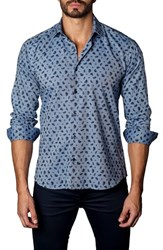 Jared Lang Trim Fit Paisley Sport Shirt Chambray Navy Paisley
