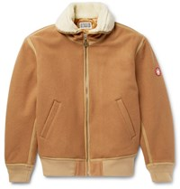 Cav Empt Faux Hearling Trimmed Melton Wool Blend Jacket Tan