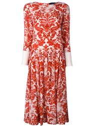Erika Cavallini Floral Baroque Print Dress Red