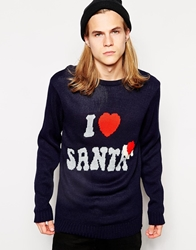 D Struct Christmas Jumper I Love Santa Blue