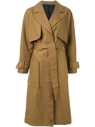 Le Ciel Bleu Oversized Silhouette Trench Coat Brown