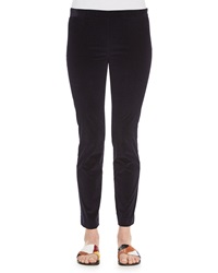 The Row Stretch Corduroy Cropped Leggings Navy