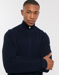 Selected Homme Organic Cotton Ribbed Knitted Zip Through Cardigan In Navy