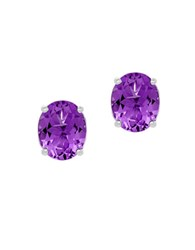 Lord And Taylor Amethyst Sterling Silver Oval Stud Earrings Purple