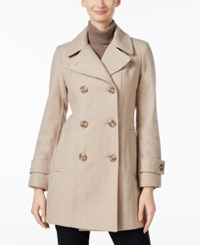 Anne Klein Long Peacoat Only At Macy's Oatmeal