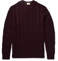 Club Monaco Melange Cable Knit Sweater Burgundy