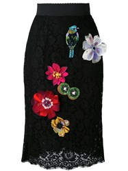 Dolce And Gabbana Floral Embroidered Pencil Skirt Women Silk Cotton Nylon Viscose 40 Black
