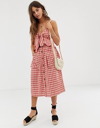 Moon River Gingham Midi Skirt With Button Down Front And Oversized Pockets Red