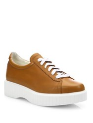 Robert Clergerie Pasketv Leather Platform Sneakers Cognac White