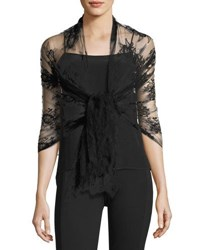 Valentino Sheer Floral Lace Shawl Black