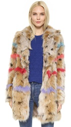 Jocelyn Dyed Fox Fur Coat Animal