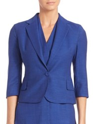 Akris Cool Wool Bracelet Sleeve Short Jacket Bluejay