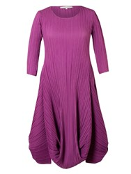 Chesca Plus Size Crush Pleat Matt Crepe Drape Hem Dress Purple