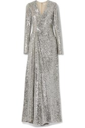 Reem Acra Wrap Effect Sequined Tulle Gown Silver