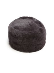 Sherry Cassin Mink Fur Hat Dark Grey