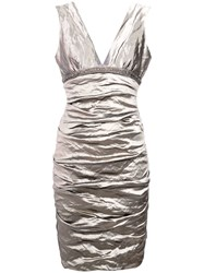 Nicole Miller Ruched Fitted Dress Grey