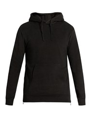 Balmain Side Zip Hooded Cotton Sweatshirt Black