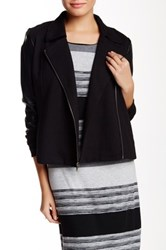 Three Dots Long Sleeve Faux Leather Mix Jacket Black