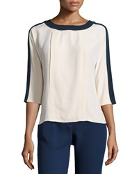 Carolina Herrera 3 4 Sleeve Two Tone Blouse Ecru Navy