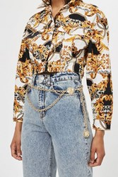 Topshop Lion Head Chain Belt Black