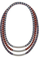 Missoni V And A Set Of Three Palladium Plated Woven Necklaces Blue