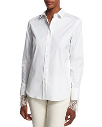 Brunello Cucinelli Poplin Blouse W Scalloped Lace Cuffs White