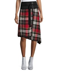 Public School Ilha Plaid High Waist A Line Skirt Red Pattern