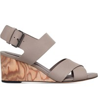 Vince Gwyn Leather Wedge Sandals Taupe