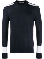 Neil Barrett Block Color Sweater Blue