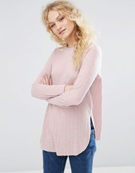 Asos Long Sleeve Top With Side Splits And Curve Hem Light Pink Clear