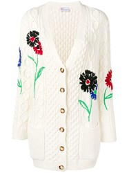 Red Valentino Embroidered Floral Cable Knit Cardigan White