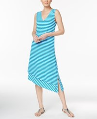 Calvin Klein Asymmetrical Striped Shift Dress Blue