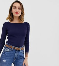 River Island Boat Neck Top With Contrast Tipping In Navy