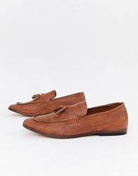 New Look Faux Leather Loafers With Tassels In Tan