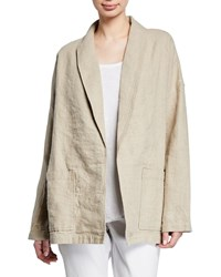 Eileen Fisher Organic Linen Shawl Collar Jacket Plus Size Undyed Natural