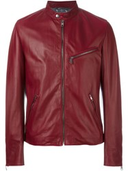 Dolce And Gabbana Stylised Biker Jacket Red