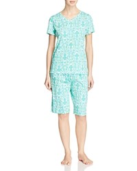 Ralph Lauren Short Sleeve Bermuda Pajama Set Ikat Blue Green