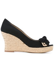 Tory Burch Bow Wedge Sandals Women Leather Canvas Rubber 7 Black