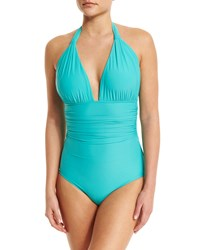 Lenny Niemeyer Halter Neck Ruched Maillot One Piece Swimsuit Turquoise Women's