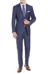 Hart Schaffner Marx New York Classic Fit Check Wool Suit Med Blue