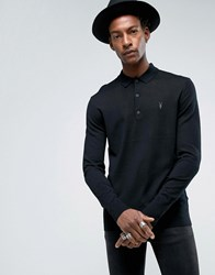 Allsaints Knitted Long Sleeve Polo In Merino Wool Black