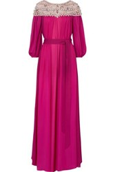 Marchesa Embellished Silk Georgette And Tulle Gown Fuchsia
