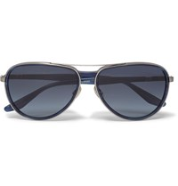 Barton Perreira Gazarri Aviator Style Acetate And Silver Tone Sunglasses Navy