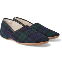Derek Rose Crawford Shearling Lined Checked Wool Flannel Slippers Navy