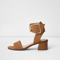 River Island Womens Brown Oversized Buckle Leather Sandals