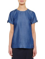 Ted Baker Colour By Numbers Bow Tie Sleeve T Shirt Mid Wash Blue