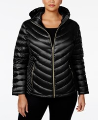 Calvin Klein Plus Size Packable Down Hooded Puffer Coat Only At Macy's Black