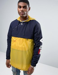 Fila Vintage Black Overhead Jacket Yellow